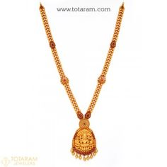 22K Gold 'Lakshmi' Long Necklace (Temple Jewellery) - 235-GN2057 - Buy this Latest Indian Gold Jewelry Design in 56.900 Grams for a low price of  $3,008.80