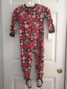 $7.99 NWT Carter's Super-Comfy Sleepwear Toddlers 4T Monkey Footie Pajamas #Carters #OnePiece