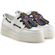 Pierre Hardy Patent Leather Platform Creepers (2,600 HKD) ❤ liked on Polyvore featuring shoes, multicolored, white, multicolor shoes, patent leather shoes, white creeper shoes, colorful shoes and patent shoes