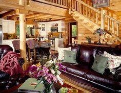 Log Home Great Room   Kentucky Log Home Great Room