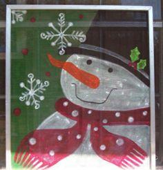 painted christmas windows | Hand Painted Window Screen | Christmas