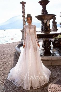 Buy Wedding Dress Pentelei 5013 with delivery . Buy Wedding Dress, Bohemian Wedding Dresses, Wedding Veils, Bridal Nightgown, Gowns With Sleeves, Bridal Collection, Night Gown, Evening Dresses, Bride
