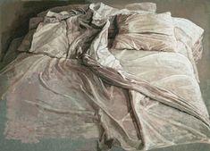 Pintura de una cama y sábanas arrugadas