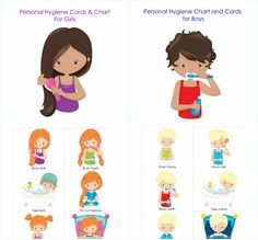 Personal Hygiene and Bedtime Routine Chart and Cards for Girls and Boys Toddler Fun, Toddler Activities, Learning Activities, Kids Learning, Counseling Activities, Good Parenting, Parenting Teens, Bedtime Routine Chart, Kindergarten