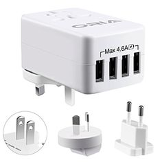 From 12.99 Oria 4 Usb Plug Charger Oria Universal Travel Adapter 23w/5v 4.6a Output Wall Charger Plug With Uk/usa/eu/aus Multi Plugs For Iphone 8/7/6s/6/plus And More Android Phones Tablet Power Bank