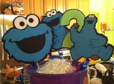 Cute Sesame Street Cookie Monster Party Centerpiece via Etsy