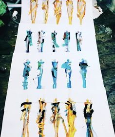 Fashion Illustration Mixed Media  designs. Annabelle Banner