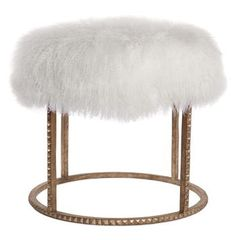 Pom Pom Hollywood Regency White Lamb Gold Studded Pouf Ottoman. #kathykuohome #ottoman #HollywoodRegency