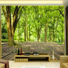 Sunny Forest Landscape Wallpaper Mural (㎡) Shop at BVM Home and pick the right wallpaper to fit your style! Be it nostalgic, modern or classy. We cover various themes: nature, city, animal and much more. Forest Wallpaper, Wall Wallpaper, Modern Wallpaper, Ceiling Murals, Wall Murals, Photo 3d, Photowall Ideas, Photo Mural, 3d Home