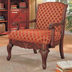 Traditional Red Gold Wood Fabric Queen Anne Legs Accent Chair