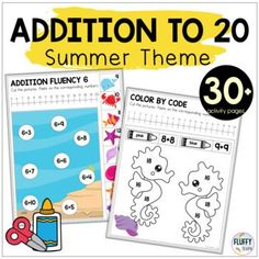 Addition Within 20 Summer Worksheets by Fluffy Tots | TpT Fluency Activities, Subtraction Activities, Easel Activities, Math Games, Summer Worksheets, Addition Activities, Student Data, Cut And Paste, Having A Blast