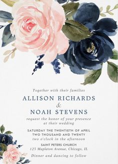 Blush pink and navy blue rose boho wedding invitation Navy Blush Weddings, Blue And Blush Wedding, Navy Wedding Flowers, Blush Pink, Navy Wedding Colors, Blue Wedding Bouquets, Navy Blue Flowers, Western Wedding Dresses, Boho Wedding