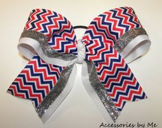 Patriotic Big Cheer Bow Chevron Red White Blue Girls Teen Youth Ladies USA Cheerleader Hair Accessory Team Army Spirit Sports Wholesale Lot