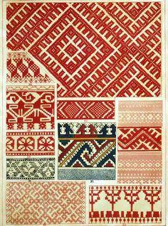 Free Easy Cross, Pattern Maker, PCStitch Charts + Free Historic Old Pattern Books: Russian Русский Russian Embroidery, Folk Embroidery, Embroidery Patterns, Knitting Patterns, Russian Folk, Russian Style, Cross Stitch Borders, Crochet Chart, Brick Stitch