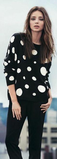 Who made  Miranda Kerr's black and white polka sweater?