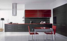kitchen, Modern Kitchen Design Ideas With Dining Room Design Ideas With Glass Dining Table Design And Two Dining Chair With Red Kitchen Cabinet Design And Kitchen Furniture Ideas With Black Kitchen Wall Units Design: Stunning Modern Kitchen Cabinet Furniture for Contemporary Kitchen