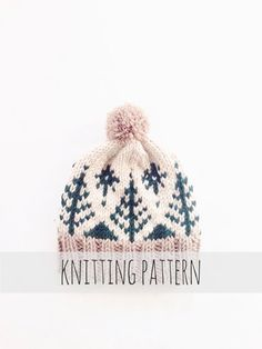 PATTERN for Pompom Winter Ski Fair Isle Patterned Alpine Beanie Cap Hat // Adirondack Toboggan PATTERN