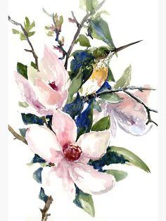 """Hummingbird and Magnolia Flowers"" Canvas Print by surenart | Redbubble Watercolor Artwork, Watercolor Flowers, Japanese Watercolor, Alice, Thing 1, Flower Artwork, Magnolia Flower, Flower Canvas, Painting Edges"