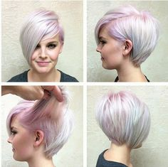 Fashion colour on the roots of a platinum base really makes this nicely done short grad bob pop!!!