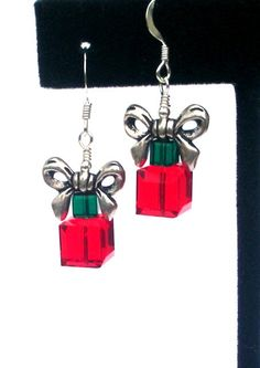 Christmas earrings, wrapped presents, Swarovski crystal holiday earrings, gift box earrings with bows, red and green, CIJ, Christmas in July