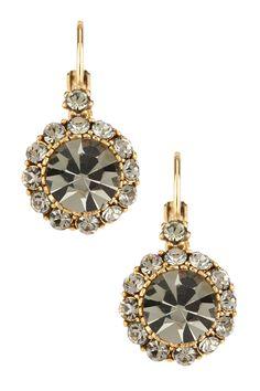 Antique Circle Crystal Drop Earrings