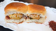 Vada Pav / Potato Fritter Sliders – Air Fryer Air Fryer Vada Pav – This is the humble street food of Mumbai. A fried potato fritter in chickpea batter or vada, is stuffed in between mini-burger buns called pav, along with sweet and spicy sauces or chutney Spicy Vegetarian Recipes, Veg Recipes, Indian Food Recipes, Cooking Recipes, Air Fryer Recipes Veg, Easy Recipes, Recipies, Dinner Recipes, Tea Time Snacks