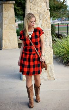 Red & black check dress, cowgirl boots & statement necklace. Fall outfit style idea.
