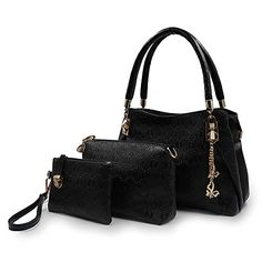 Greatsum Lady Designer 3 Piece Tote Bag Handbag Set for Women Bags Shoulder Crossbody Bag for Women Black -- Want additional info? Click on the image.