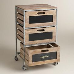 Wood And Metal 3 Drawer Mackenzie Rolling Cart World Market In With Drawers Inspirations Makeup Storage Cart, Craft Storage Cart, Wood Storage, Storage Drawers, Diy Storage, Bathroom Storage, Storage Bins, Wood Shelves, Kitchen Storage