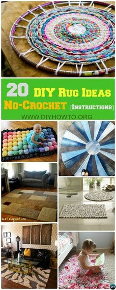20 Anleitung für Projekte von No Crochet DIY Rug Ideas - Upcycled Crafts Arts And Crafts For Adults, Easy Arts And Crafts, Arts And Crafts Projects, Decor Crafts, Diy Crafts, Upcycled Crafts, Arts And Crafts Interiors, Art And Craft Videos, Crochet Diy