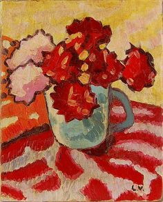 """Bouquet of Flowers"" oil on canvas by Louis Valtat (1869-1952), a leading founder of the Fauvist art movement"