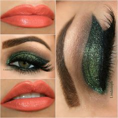 Green sparkle makeup