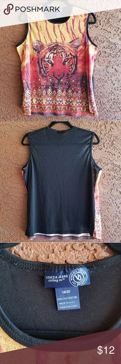 *LAST CHANCE* Tiger Sleeveless Top This tiger tank is great in anyone's wardrobe. Lightweight and stylish. In great used condition. No tears or stains. Venezia size 18/20. FINAL PRICE.  I'll be taking this to goodwill on May 1. Venezia Tops Tank Tops