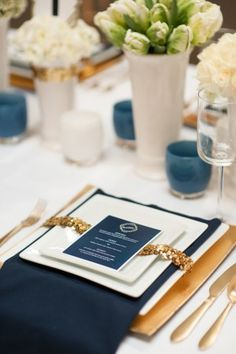 Another table linen idea. I believe it's a buffet for dinner (right?), but small menus could still be printed letting guests know what the options are and at what station.