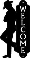 Standing cowboy western welcome sign wall plaque 17 tall metal silhouette lg description welcome sign - wall mounted western theme metal art cut outcowboy leaning up against a welcome signgreat gift f Cowboy Theme, Western Theme, Cowboy And Cowgirl, Western Art, Cowboy Birthday Party, Cowboy Party, Horse Silhouette, Silhouette Cameo, Westerns