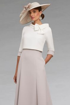 Full Length Bardot Style Dress: 546 - Catherines of Partick This off the shoulder full length dress comes in at the waist. Mother Of The Bride Fashion, Mother Of Bride Outfits, Short Fitted Dress, Short Sleeve Dresses, Dresses With Sleeves, Boat Fashion, Skirt Fashion, Crepe Dress, I Dress