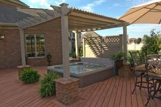 Great vinyl pergola over hot tub! I would LOVE to have this put in!