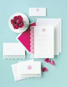 Pink & White Wedding Invitations