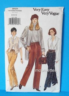 Very Vogue 9101 Sewing Pattern Womens Pants Tapered Straight 8 10 12 New Uncut #VeryVogue #TaperedorStraightLegPants
