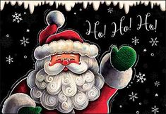 Hand-painted Santa Claus Chalkboard Greeting Card by Gina Jane for Leanin' Tree Christmas Mesh Wreaths, Christmas Signs, Christmas Pictures, Christmas Greetings, Christmas Diy, Christmas Cards, Christmas Decorations, Christmas Ornaments, Xmas