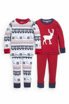 buy reindeer snuggle pyjamas two pack 9mths 6yrs from the next uk online - Childrens Christmas Pyjamas
