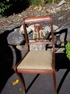 Old Vintage Wood Furniture Lyre Harp Back Chair Needs Tender Loving Care Pick Up | eBay  $25