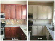 This customer had us glaze all of the kitchen cabinets in a Sherwin Williams color called White Heron. The supplier that we get our glaze from can match any Sherwin Williams color or Martha Stewart color.