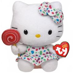 Ty Hello Kitty Small Lollipop Plush Toy (€11) ❤ liked on Polyvore featuring toys