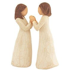 Sisters By Heart Willow Tree Figurine Set of 2 - resin - 5 1/4 inches tall - $32 - two women clasping hands #willowtree