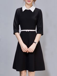 Classical Small Lapel Plain Skater-dress Skater Dresses from Fashionmia.com