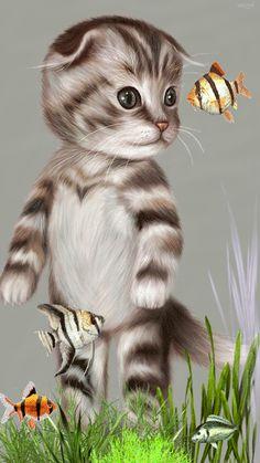 ❤️Cute Cat in a fish tank GIF
