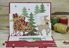 Pop up card with Snow Scenery made with Stampin'Up Santa's Sleigh stamp set and thinlits Bundle.