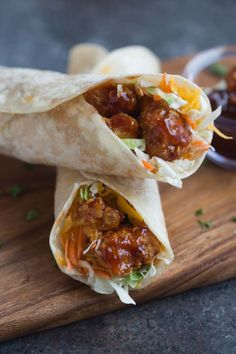 Honey BBQ Chicken Wraps made with crispy baked chicken smothered in honey bbq sauce. | Tastes Better From Scratch
