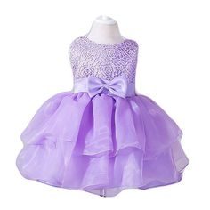 8d49290e1 Girl Dress Kids Ruffles Lace Party Wedding Dresses Lavender One Year Old  Size 12-18M